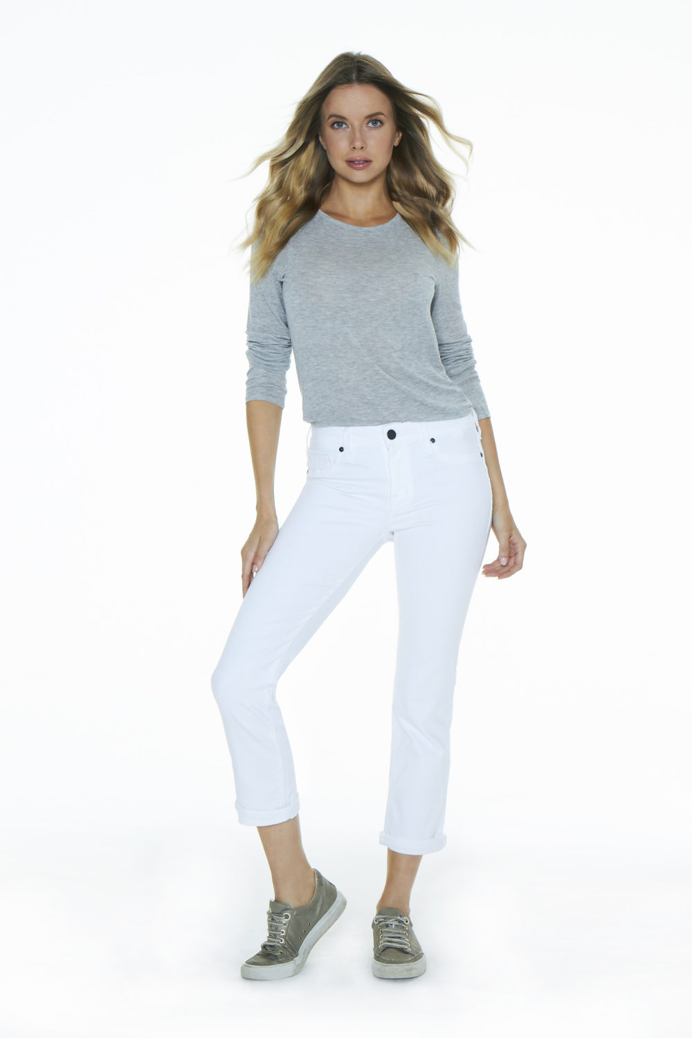 COURTNEY CUFFED CROP IN ETERNAL WHITE